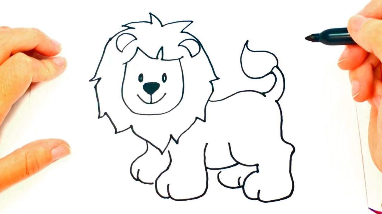 How to draw a lion for kids lion drawing lesson step by for Comedor facil de dibujar