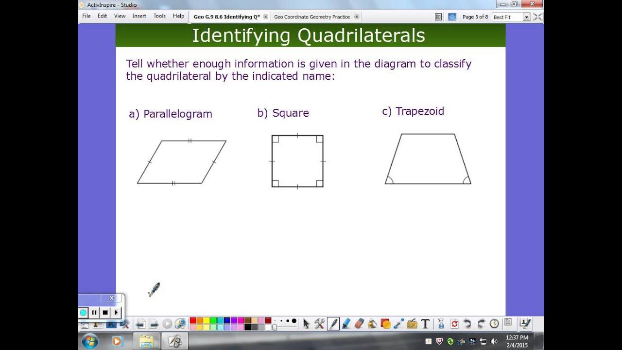 worksheet Identifying Quadrilaterals identifying quadrilaterals youtube quadrilaterals