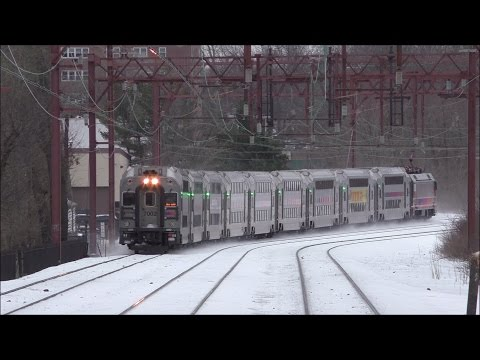 NJ Transit HD 60fps: Snowy Morristown Line Evening Action @ South Orange (3/15/17)