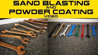 Sandblasting And Powder Coating Rusty Old Spanners ASMR Video