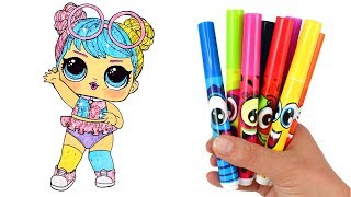 How to Draw LOL Doll Bon Bon | LOL Surprise Bling Series Opening Drawing & Coloring for Kids