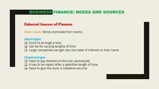 Grade-11 (O Level)  Business Studies Lesson 3 Business Finance