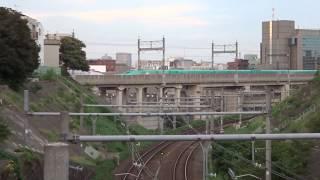 東京とは思えないV字峡谷の越しに見える東北新幹線E5系と秋田新幹線E6系の連結編成の走行