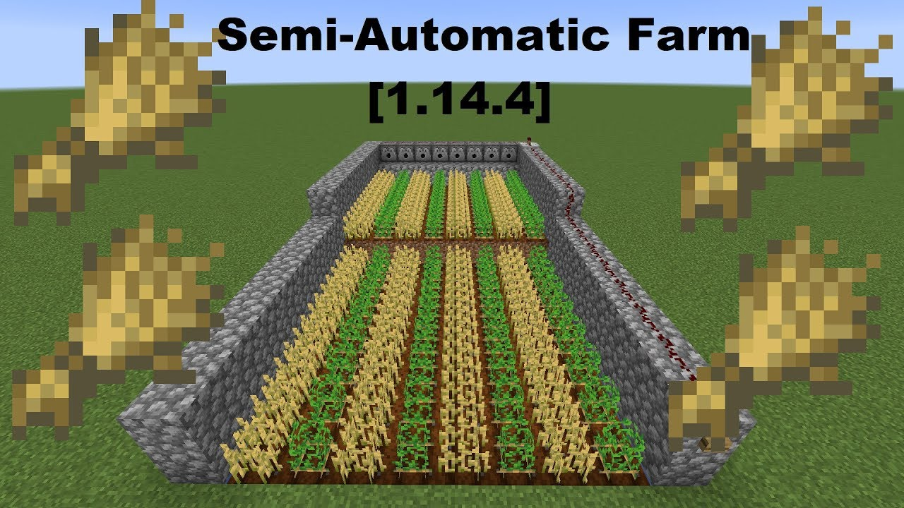 How To Make A Semi Automatic Farm In Minecraft 1 14 4 Youtube