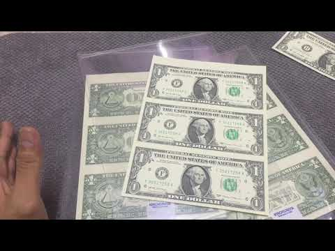 Very Cool UNCUT $1 Dollar Banknotes