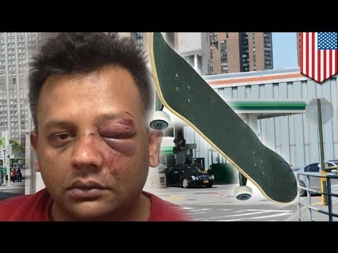 Racist skateboarder attacks NYC cab driver for being Pakistani