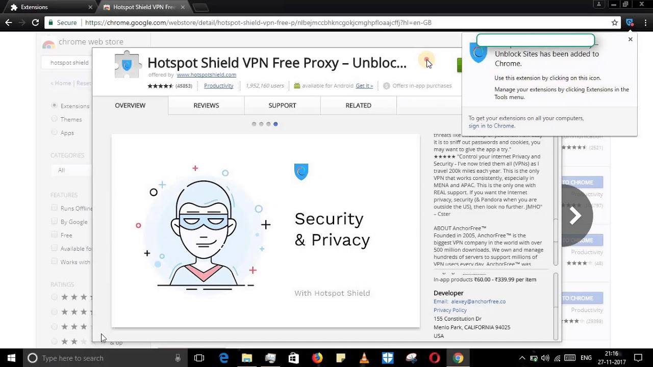 Hotspot shield added to chrome