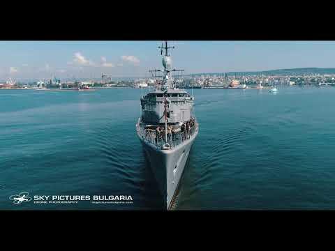 Заснемане с дрон на военен обект военни кораби НАТО Bulgaria NAVY military ship base Varna drone