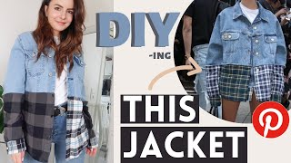 Thrift Flip DIY Denim Flannel Jacket from Pinterest (Clothes Upcycle)