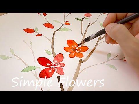 Beginner Watercolor Flowers Painting / Simple flower tree