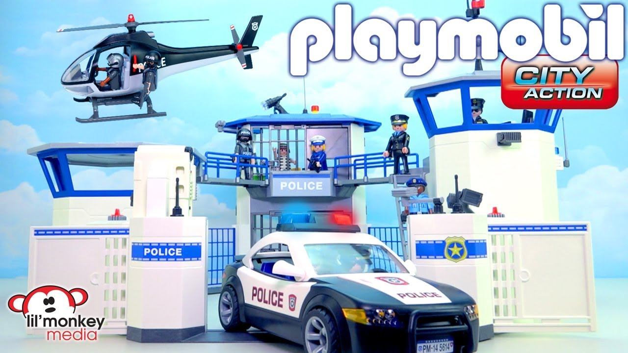 playmobil city action build and play police headquarters prison police car helicopter and more - Playmobile Police