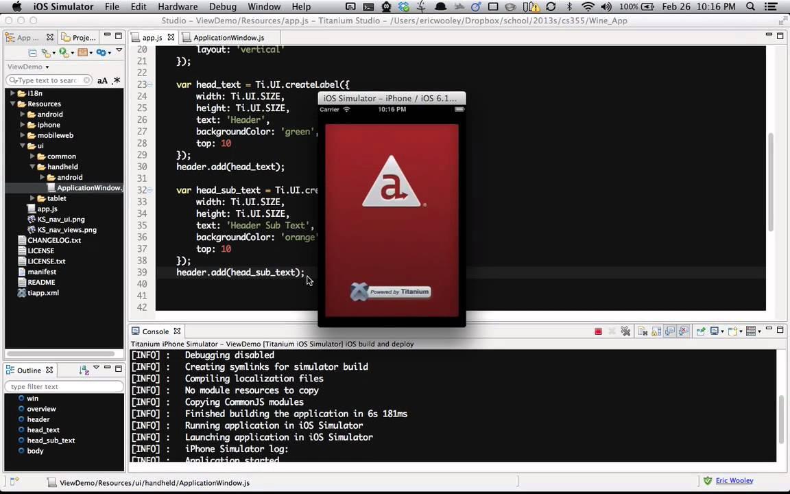 Hello titanium app tutorial documentation & guides 2. 0.