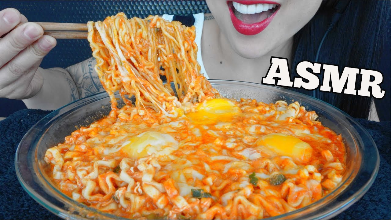 ASMR SPICY CHEESY NOODLES (SOFT CHEWY SOUNDS) NO CRUNCH NO TALKING | SAS-ASMR