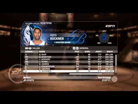 NBA Live 08 PS3 General Roster Dallas Mavericks