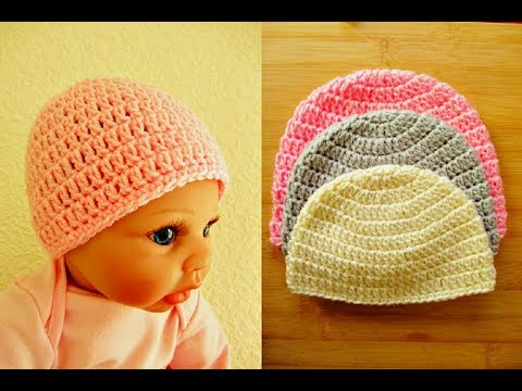 Crochet Baby Beanie Hat Tutorial Newborn 0 3 Months Happy Crochet