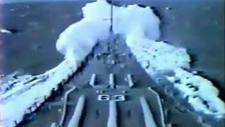 Battleship USS Missouri (BB-63) in heavy seas! - 1980s