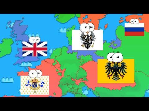 La Guerre de Sept Ans - Résumé en carte avec pays qui parlent