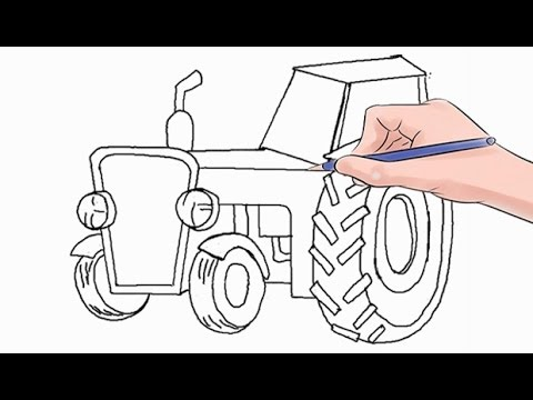 How To Draw A Tractor Easy Step By Step Youtube
