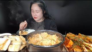 요리먹방:) 직접 만든 콩비지찌개 삼치구이 핵폭탄 시리즈 배추김치 파김치 총각김치 오이김치 먹방 korea pood mukbang biji stew, spicy kimchi
