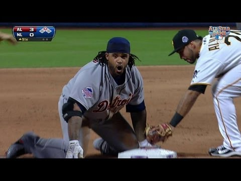 Prince slides in safely with a triple