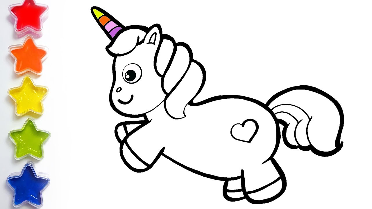 Coloring Glitter Unicorn Learn Drawing Colors For Kids ...