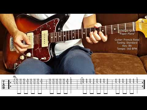 "STATUS QUO - ""Paper Plane"" for Lead-Guitar + Tabs (Lesson / Tutorial) Francis Rossi"