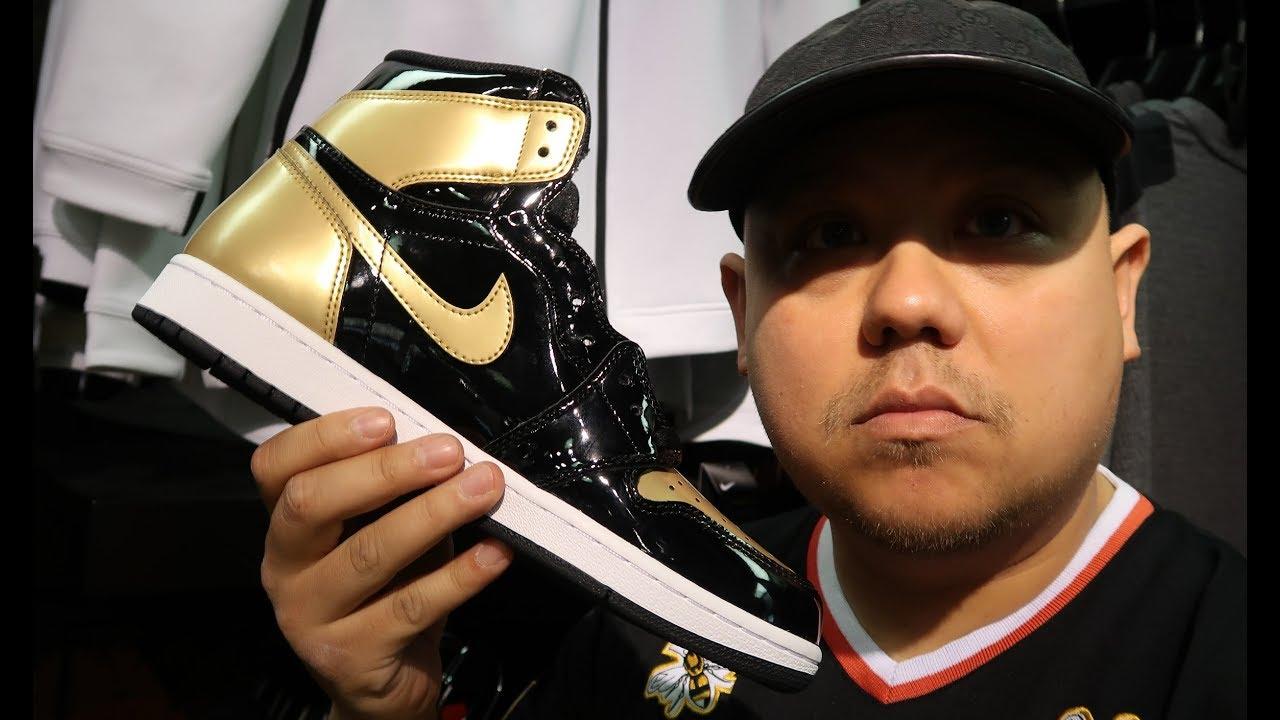 5f572950a9b5 Air Jordan 1 Gold Toe Patent Leather All Star NRG OG High Retro Sneaker  Review
