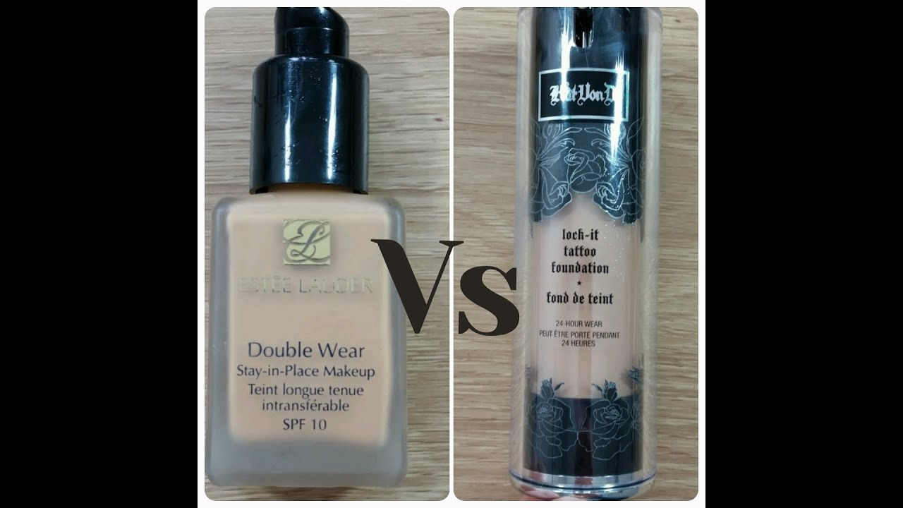 KAT VON D LOCK IT FOUNDATION Vs ESTEE LAUDER DOUBLE WEAR - YouTube