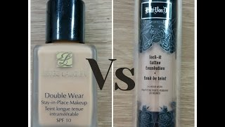 KAT VON D LOCK IT FOUNDATION Vs  ESTEE LAUDER DOUBLE WEAR