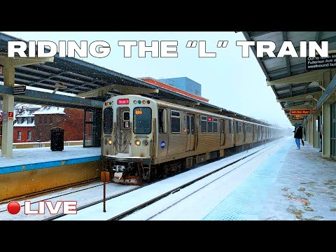 Chicago LIVE - Riding the CTA Red Line L Train Fullerton to Cermak - Chinatown Winter 2021