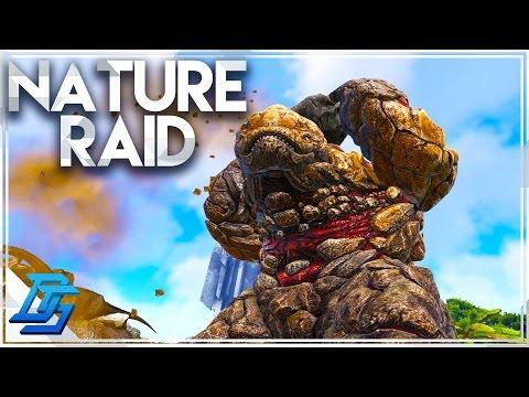 Huge Raid , Using Nature !  - Ark Survival Evolved - Part 10 (Volcano PvP)