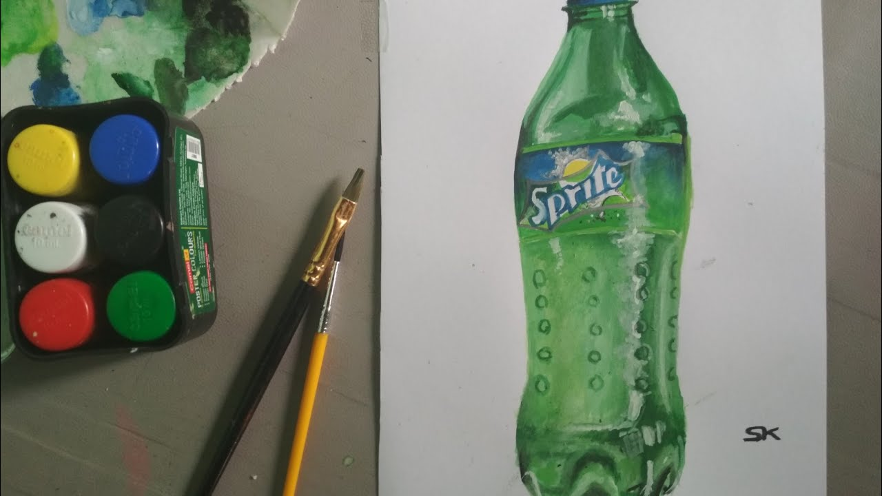 Drawing Timelapse A Bottle Of Sprite Drawing Realistic Sprite Bottle Watercolor Drawings Youtube