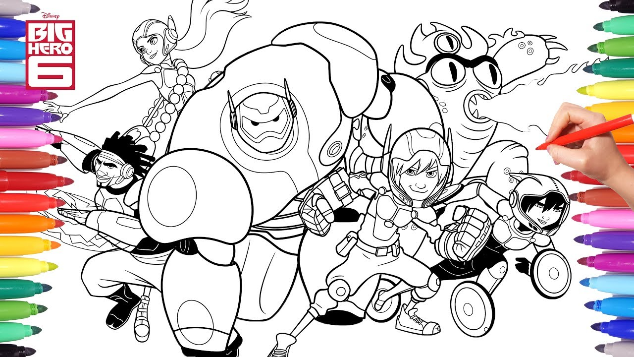Disney big hero 6 cartoon coloring pages 2 hiro baymax and big hero 6 friends