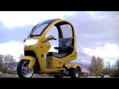 Трехколесный скутер трицикл с крышей. Trike, Трайк скутер с крышей, Triscooter)