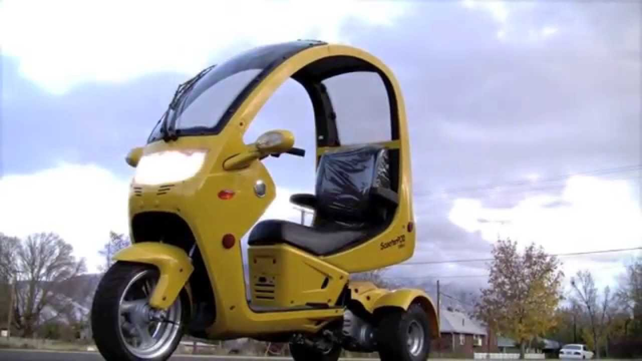 Трехколесный скутер трицикл с крышей. Trike, Трайк скутер с крышей .