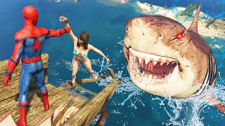 GTA 5 Water Ragdolls | SPIDERMAN Found Megalodon Attack Jumps/Fails Compilation #51 (Funny Moments)