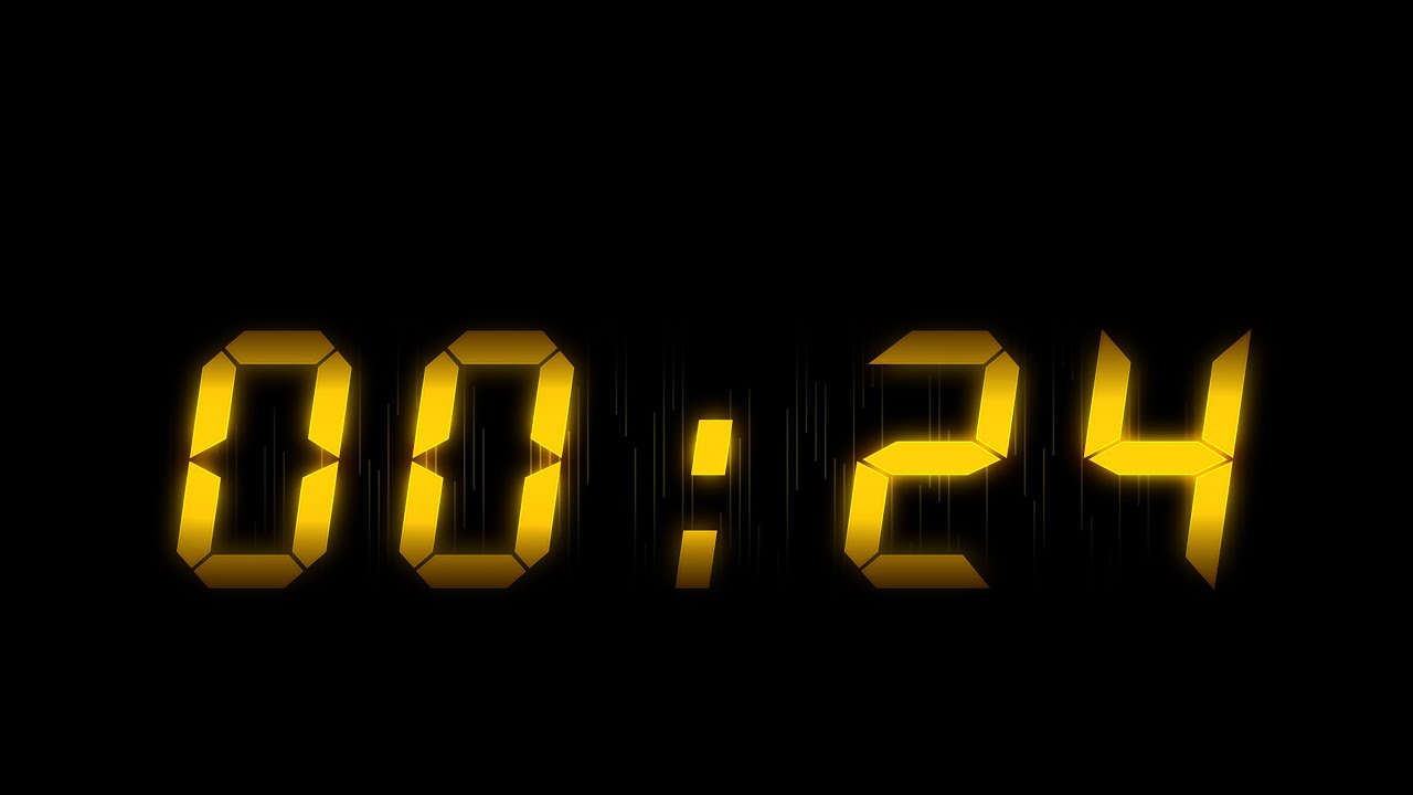 24 Timer Sound 60 sec countdown ( v 413 ) timer with sound/music effects hd 4k
