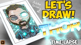 Let's Draw - Marvel's THOR! - Adobe Draw Time-Lapse