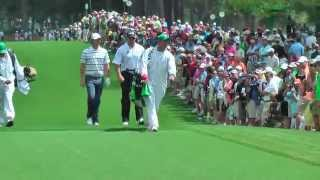 Rory McIlroy and Lee Westwood blasting drives down 7 on practise day at The Masters 2013