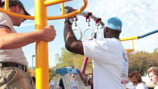Playground Building With United Way, Gmc, Detrot Lions, And Heels & Helmets