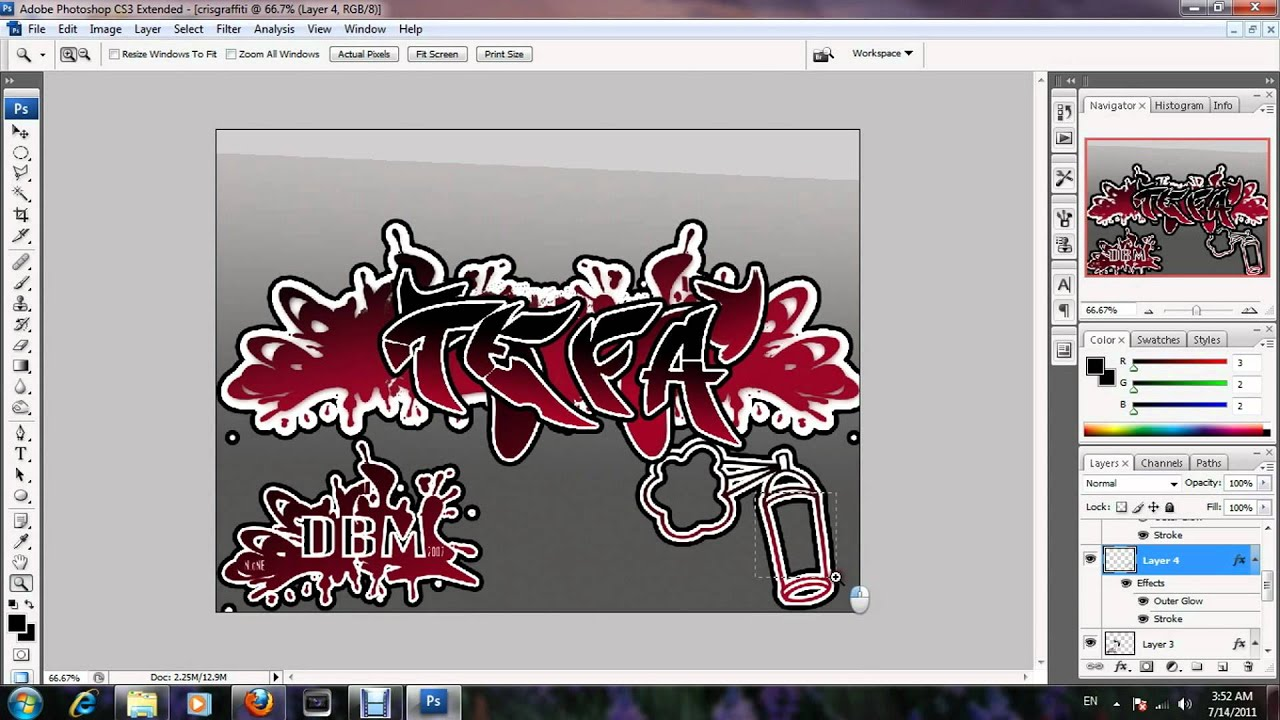 How To Make a Pro Graffiti Text On Photoshop - YouTube