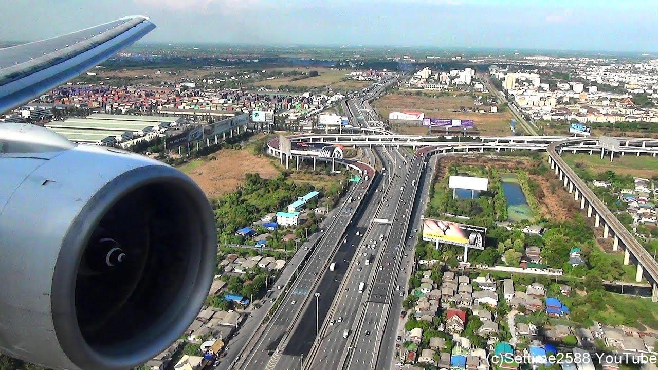 Landing in Bangkok Airport. Boeing 777-200. Thai Airways Flight TG322. Rolls Royce Trent Engine