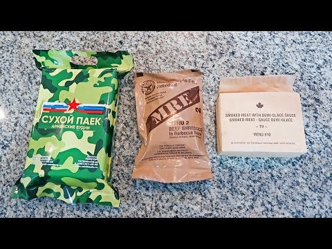 Testing 2019 US Canadian Russian Military MRE (Meal Ready to Eat)