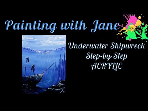Underwater Shipwreck Step by Step Acrylic Painting on Canvas for Beginners