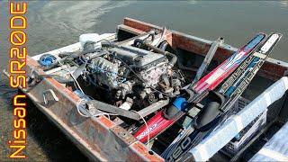 "NISSAN SR20DE + водомет на лодке ""Крым""  + лыжи (#1) | car motor on boat"