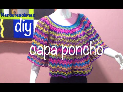 Capa Poncho Fácil y Rápido #Ganchillo #Crochet Easy Layer up DIY ...