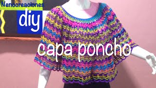 Repeat youtube video Capa Poncho Fácil y Rápido #Ganchillo #Crochet Easy Layer up DIY