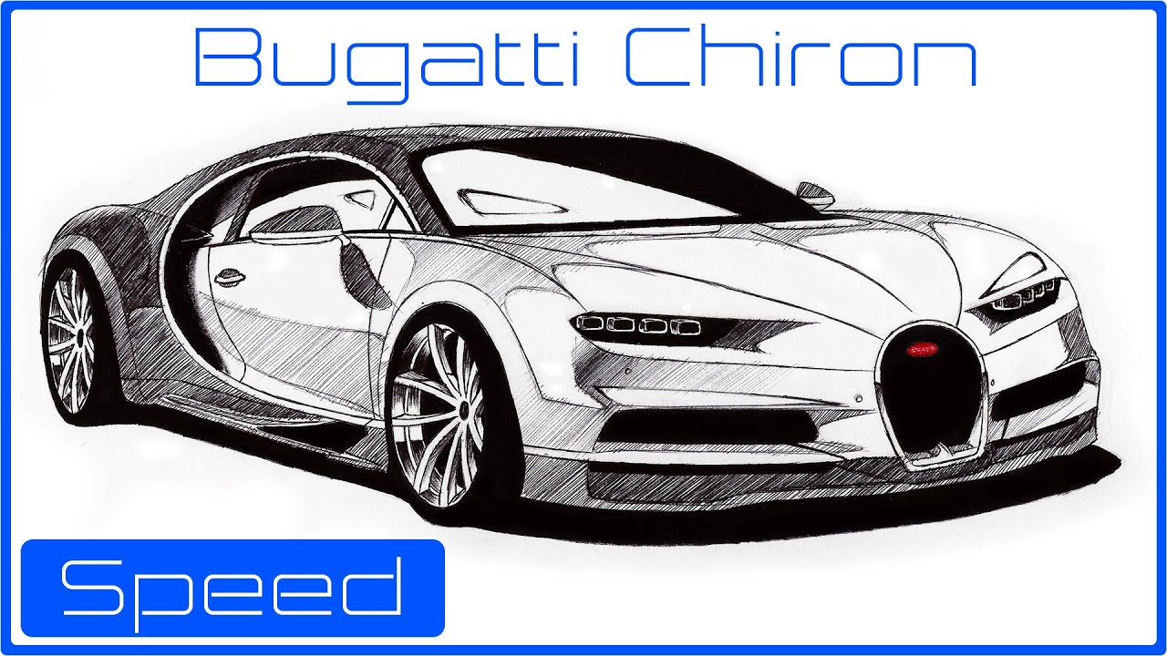 Speed drawing - Bugatti Chiron (The fastest car in the world ...