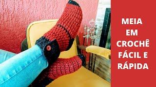 Meia em Crochê muito fácil de Fazer