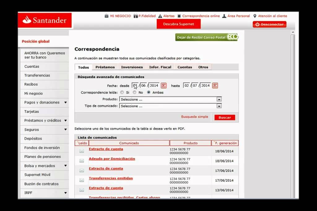 Banco santander consulta tu correspondencia online for Banco santander abierto sabado madrid
